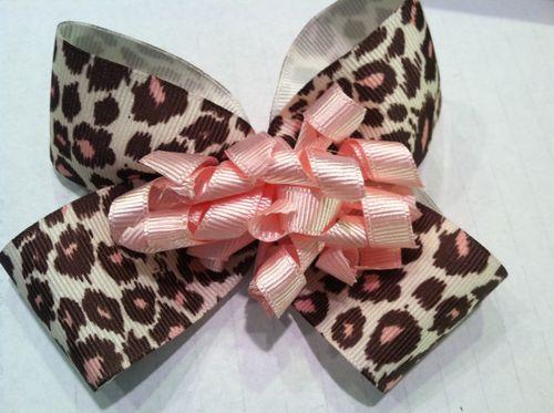 Pink and Brown Cheetah Print Single Bow