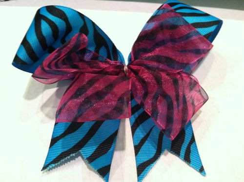Blue and Pink Double Bow