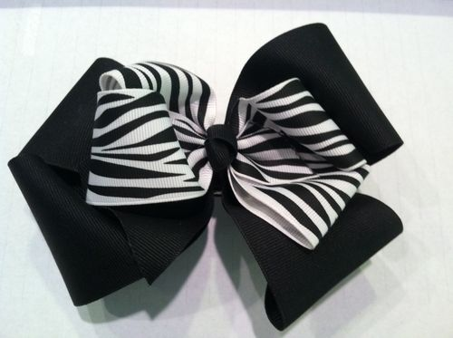 Black and Zebra Double Bow