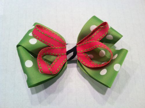 Pink and Green Double Bow