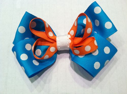 Blue and Orange Double Bow